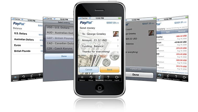 Application PayPal sur iPhone